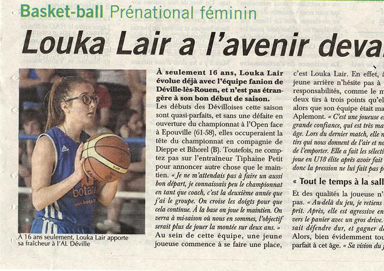 Louka Lair à l'honneur dans le journal Paris-Normandie
